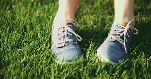 sneakers in grass